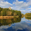Autumn landscape on river — Stock Photo