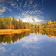 Autumn scene on lake — Stock Photo