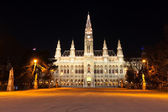 Night scene with town hall in Vienna — Stock Photo