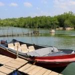 Motor boat on river — Stock Photo