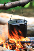 Toeristische ketel op brand — Stockfoto