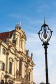 Lanterna de rua na cidade de praga — Foto Stock