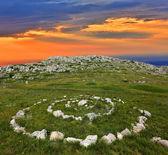 Stone circles in mountains — Stock Photo