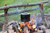 Smoked tourist kettle — Stock Photo