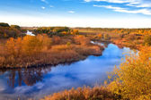 Autumn landscape on river — Stock fotografie