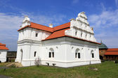 Ukrainin Church with white walls and red tile roof — Stock Photo