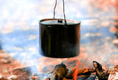 Smoked tourist kettle — Stock Photo
