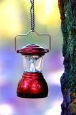 Camp lantern on rope — Stock Photo
