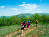 Hikers group walking — Stock Photo