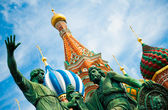 Monument to Minin and Pozharsky on the Red Square in Moscow Russ — Stock Photo
