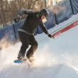 Riding snowboard in Gorky Park — Stock Photo
