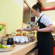 Stock Photo: Waitress serving breakfast