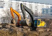 Excavators working — Stock Photo