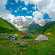 Stock Photo: Hikers camp near Ushguli, Georgia.