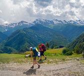 Young women trekking in Svaneti, — Stock Photo