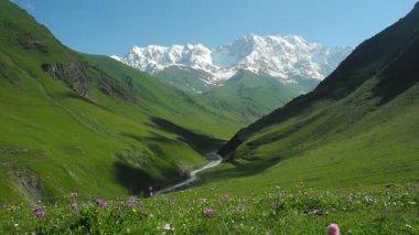 Valle del fiume inguri vicino ushguli, svaneti, georgia — Video Stock