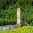 tower near the river in svaneti — Stock Photo