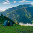Stock Photo: Tent in hikers camp