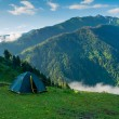 Tent in the hikers camp — Stock Photo