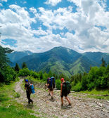 Young women trekking in Svaneti, — Stock Photo