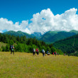 Foto Stock: Young hikers trekking in Svaneti