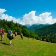 Young hikers trekking in Svaneti — Stock fotografie