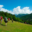 Stock Photo: Young hikers trekking in Svaneti