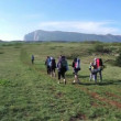 Hikers group trekking in Crimea  — Stock Video