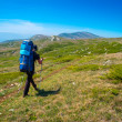Hiker trekking in Crimea — Stock Photo