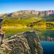 Stock Photo: Hiker enjoys landscape