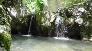 Creek with small waterfall in Crimea — Vídeo de stock