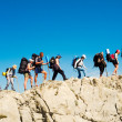 Hikers group trekking in Crimea — Stock Photo #38888395
