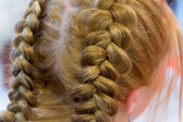 Hairdresser makes braids — Stock Photo