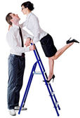 Couple and ladder — Stock Photo