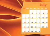 Colorful abstract 2014 July calendar — Stock Photo