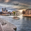 View from the embankment on Notre-Dame de Paris — Stock Photo