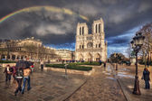View of the Cathedral of Notre Dame and the rainbow. Paris. Fran — Stock Photo