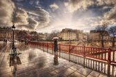 View of the bridge during a rain. Paris. France — Stock Photo