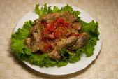 Fish, stewed with sweet pepper — Stock Photo