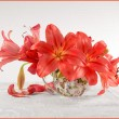 Stock Photo: Red lily in vase