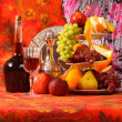 Still life with fruit and wine — Stock Photo