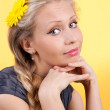 Girl on yellow - Stock Photo