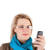 Femme et téléphone — Photo