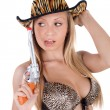 Blond sexy cowgirl — Stock Photo #13614595