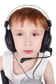 Boy and headphones — Stock Photo