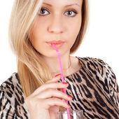 少女とジュース — ストック写真