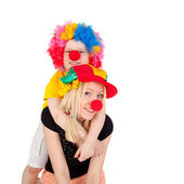 Cute bright clowns — Stock Photo