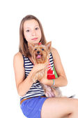 Teen und hund — Stockfoto