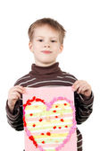 Boy with the heart shape applique — Stok fotoğraf