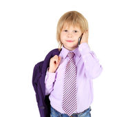 Kid speaking on telephone — Stock Photo
